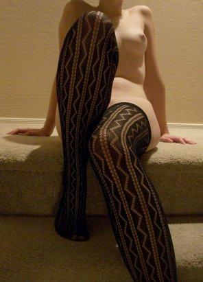 amateur photo Patterned stockings