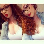amateur photo red hair, red lips