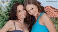 Tina Kay and Belle Francys share a huge load from mouth to mouth