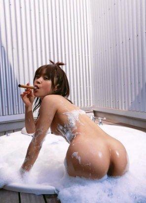 amateur photo cigar and a bath