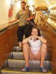 amateur photo Going down the escalator