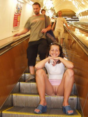 amateur photo Going down the escalator