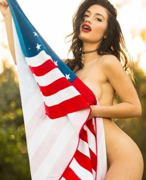 amateur photo Behind the flag