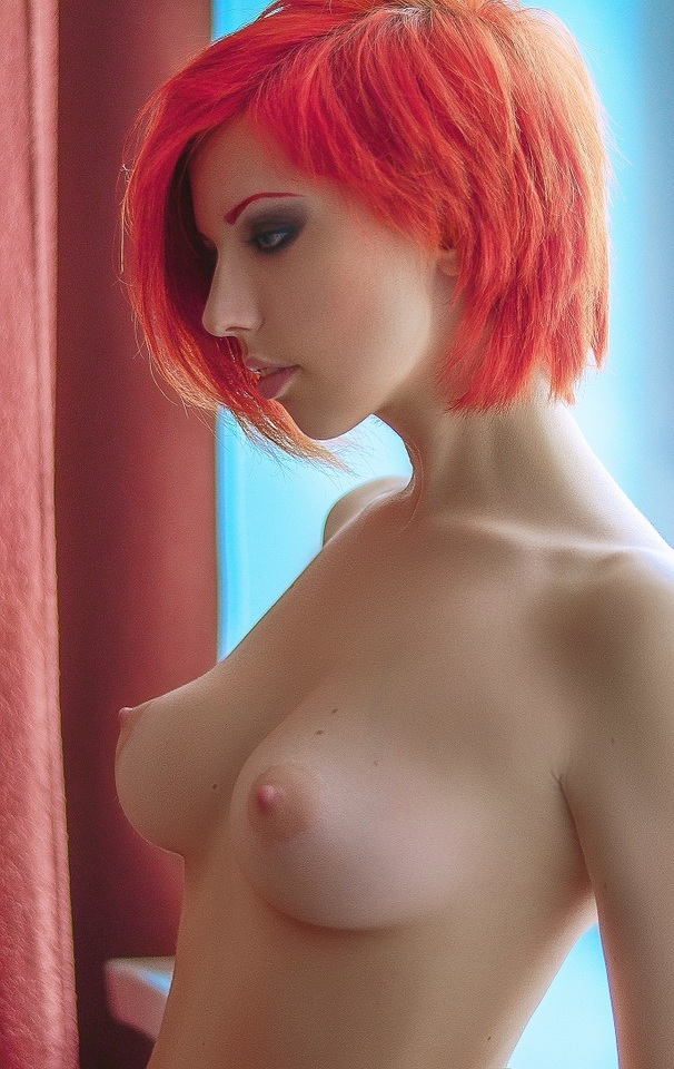 Hair nude with short red girl