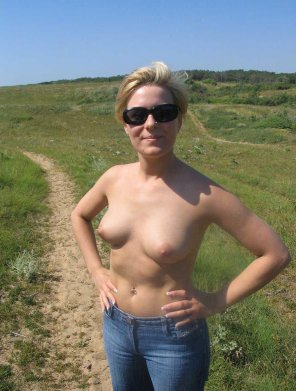 amateur photo Topless on the trail