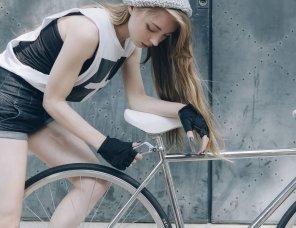 amateur photo Working on a bike