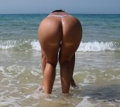 Ass in thong at the beach