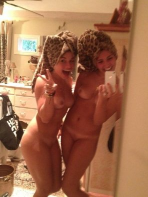 amateur photo Naked best friends in leopard print.