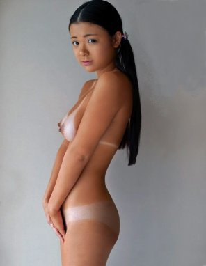 amateur photo Asian girl with tanlines