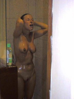 amateur photo The Wife Enjoying Her Shower