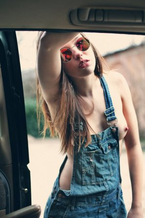 amateur photo Overalls and nothing else