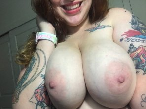 amateur photo Sunday is more fun with tats and titties 😘