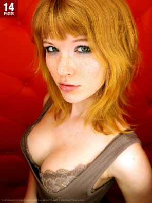 amateur photo Redhead with pouty lips
