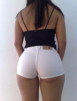 amateur photo Tight White Shorts