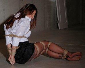 amateur photo Business woman tied up