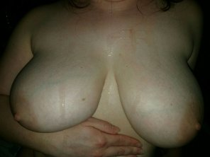 amateur photo She usually swallows, but this time I painted her DD tits!
