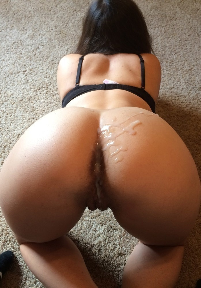 Milf ass gets covered in cum