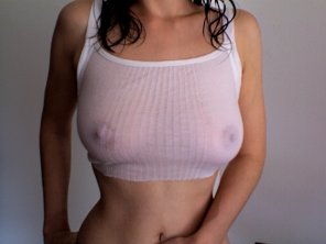 amateur photo Wife teases with wet crop top this morning