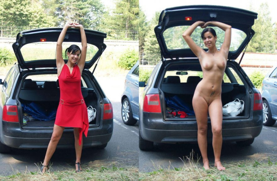 Getting changed by her car Porn Photo