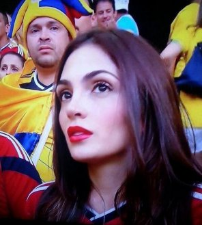 amateur photo Colombian beauty from the Brazil vs. Colombia match today