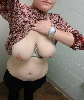 amateur photo IMAGE[Image] [F] Wife flashing her natural tits in a public bathroom