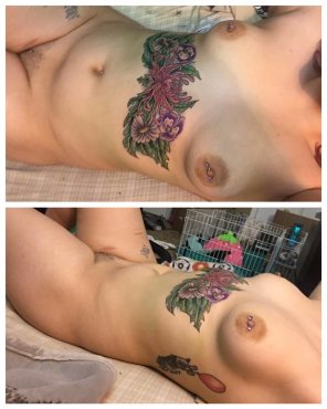 amateur photo got my sternum tattoo colored in a few days ago [f]