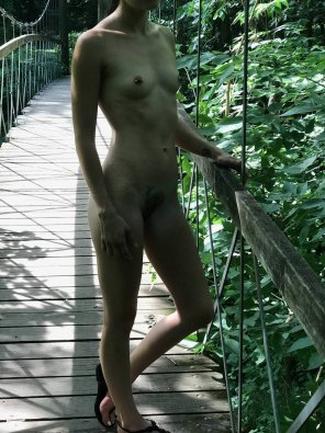 amateur photo Going through the woods nude