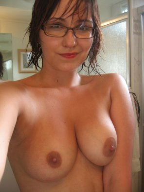 amateur photo Topless in glasses