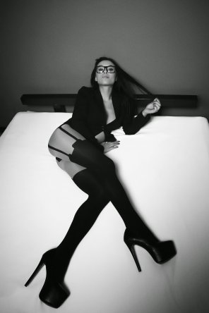 amateur photo Glasses,Stockings and heels