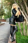 amateur photo Leather tight skirt hot boots