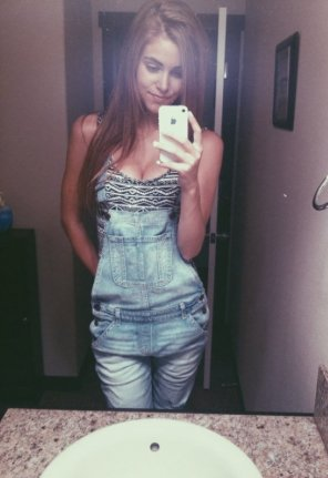 amateur photo Overalls Cleavage