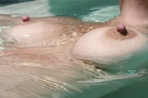 amateur photo floating in the pool