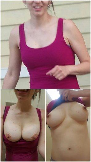 amateur photo Setting those perky tits free
