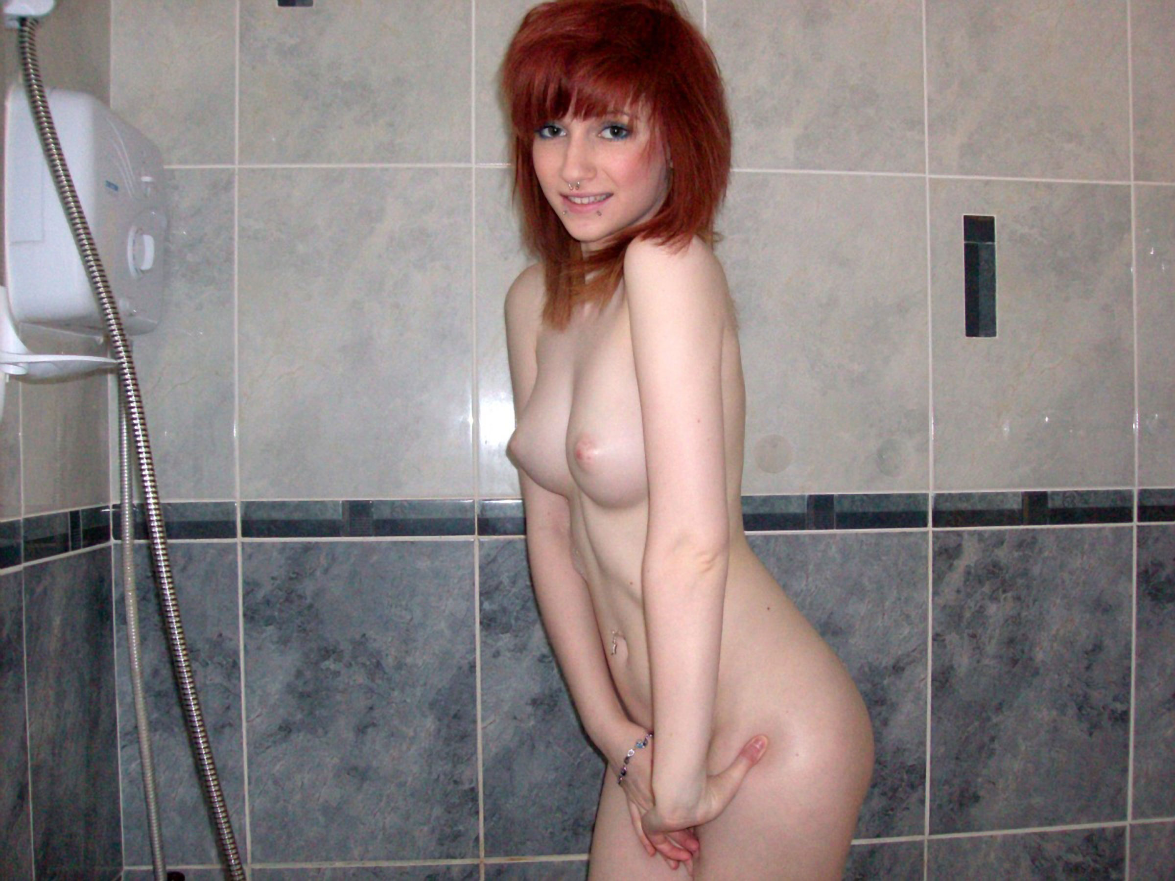 Perky female tits in shower