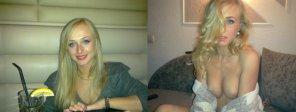 amateur photo Ukrainian blonde at the club vs at home