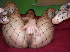amateur photo Fishnet and fingers