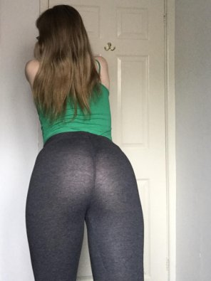 amateur photo See-through leggings and messy hair. Whoops