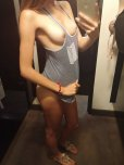 amateur photo Trying on a tank top