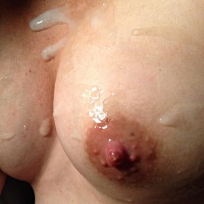 amateur photo #tbt to when I splattered on her pregnant boobs