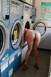 amateur photo Asian wearing the last of her clean clothes