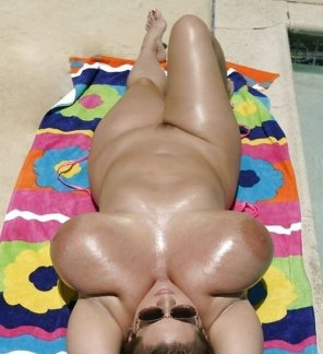 amateur photo Tanning By The Pool