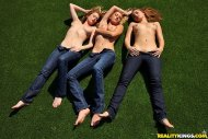 Dani Daniels, Brett Rossi and Emily Addison in the garden