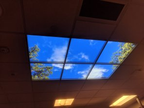 amateur photo This fake skylight in the surgery waiting room