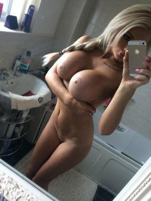amateur photo Busty Petite with showing off her new iphone