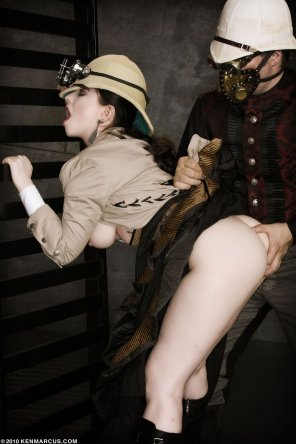 amateur photo Steampunk lady gets her ass examined