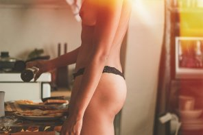 amateur photo breakfast thong