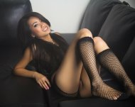 amateur photo Leather and fishnets