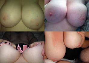 amateur photo Collage of my wife's tits