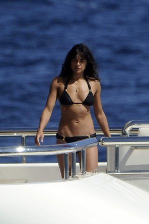 amateur photo Michelle Rodriguez on a boat in a black bikini