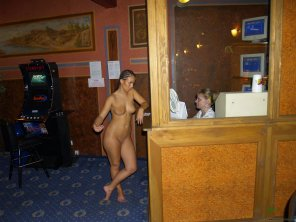 amateur photo Ticket window woman looks unimpressed